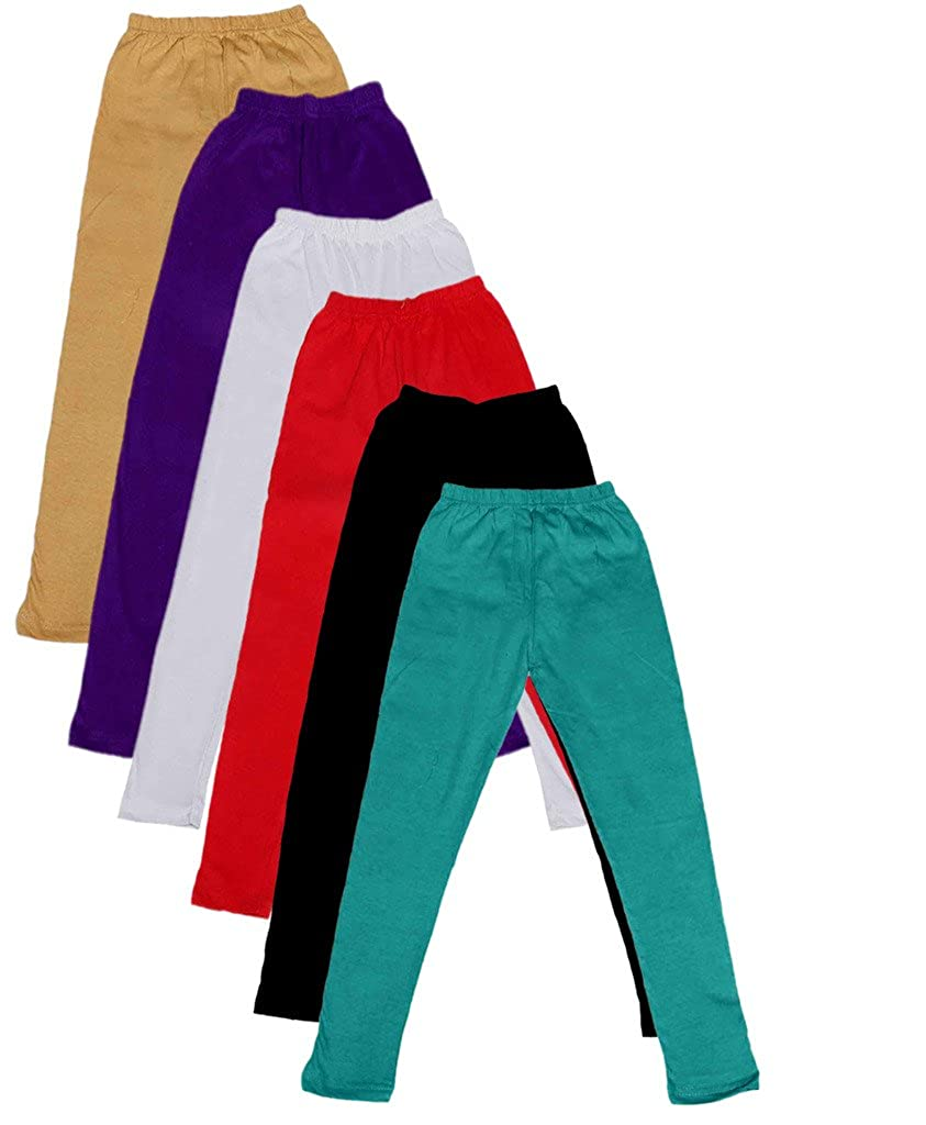 Pack of 3 Indistar Big Girls Cotton Full Ankle Length Solid Leggings -Multiple Colors-11-12 Years