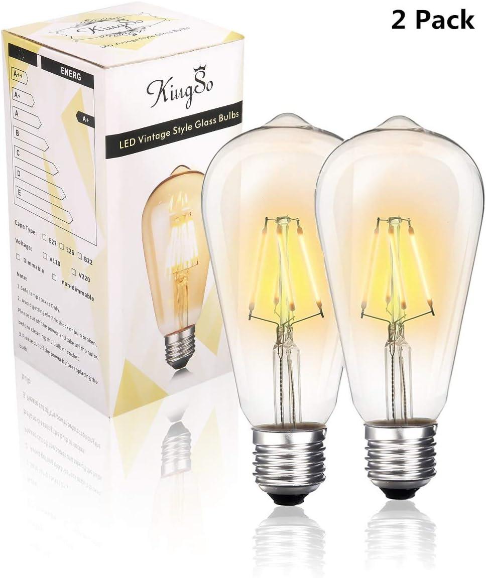 KingSo 2 Pack LED Edison Retro E27 Bombilla 4 W Bombilla ST64 ...