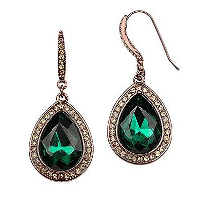 830cd01fdbd61 Rosemarie Collections Women's Teardrop Crystal Rhinestone Statement Drop  Earrings