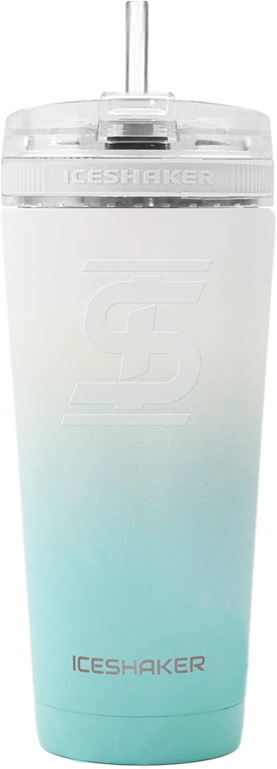 Ice Shaker 26oz w/Flex Lid & Straw - Stainless Steel Tumbler & Insulated Water Bottle - Vacuum Insulated Tumbler For Hot and Cold Drinks (Mint/White Ombre)   Gronk Shaker