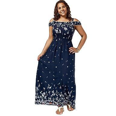 8cef970e66d CharMma Women s Plus Size Bohemian Cold Shoulder Floral Print Maxi Dress   Amazon.co.uk  Clothing