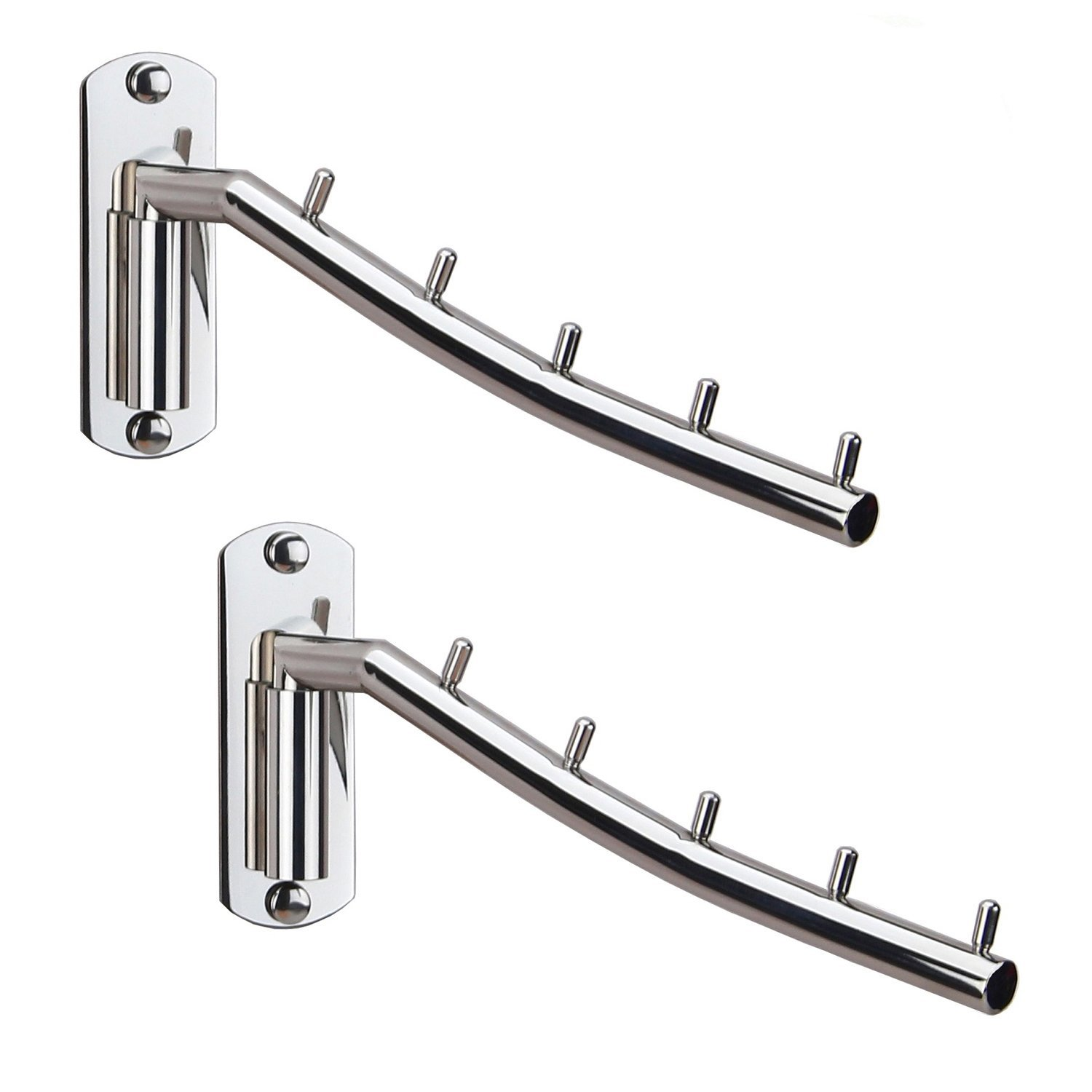 Folding Wall Mounted Clothes Hanger Rack Wall Clothes Hanger Stainless Steel Swing Arm Wall Mount Clothes Rack Heavy Duty Drying Coat Hook Clothing Hanging System Closet Storage Organizer - 2Pack by Zivisk