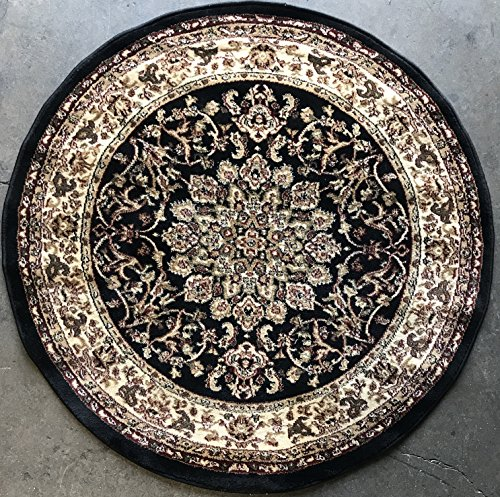 Traditional Persian Round Black Area Rug 330,000 Point Deir Debwan Design 603 (4 Feet X 4 Feet (Black Persian Rug)