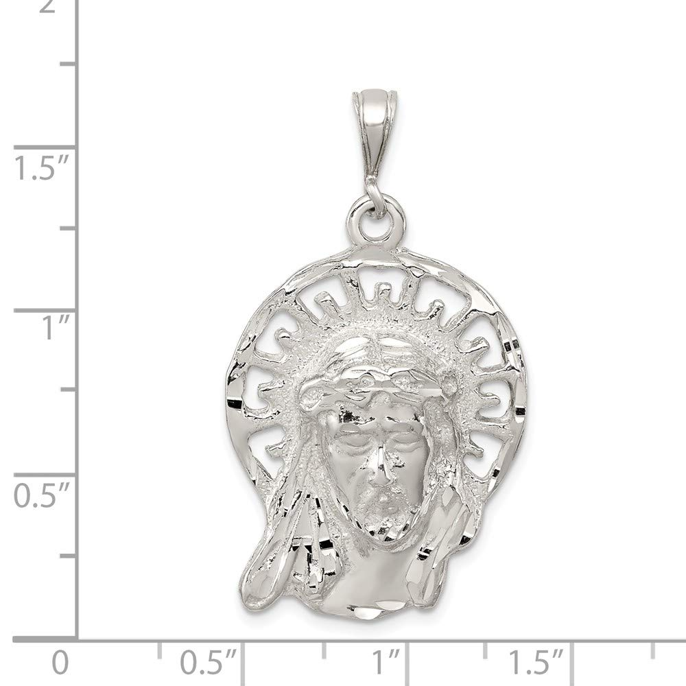 FB Jewels Solid 925 Sterling Silver Polished and Textured Jesus Head Pendant