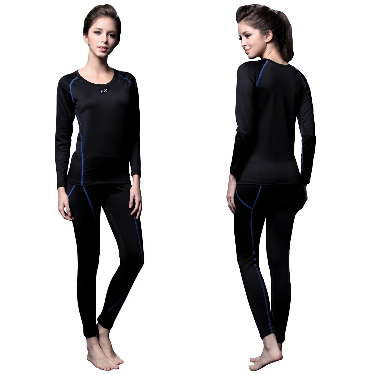 FITEXTREME Womens MAXHEAT Fleece Long Johns Thermal Underwear Set Black L