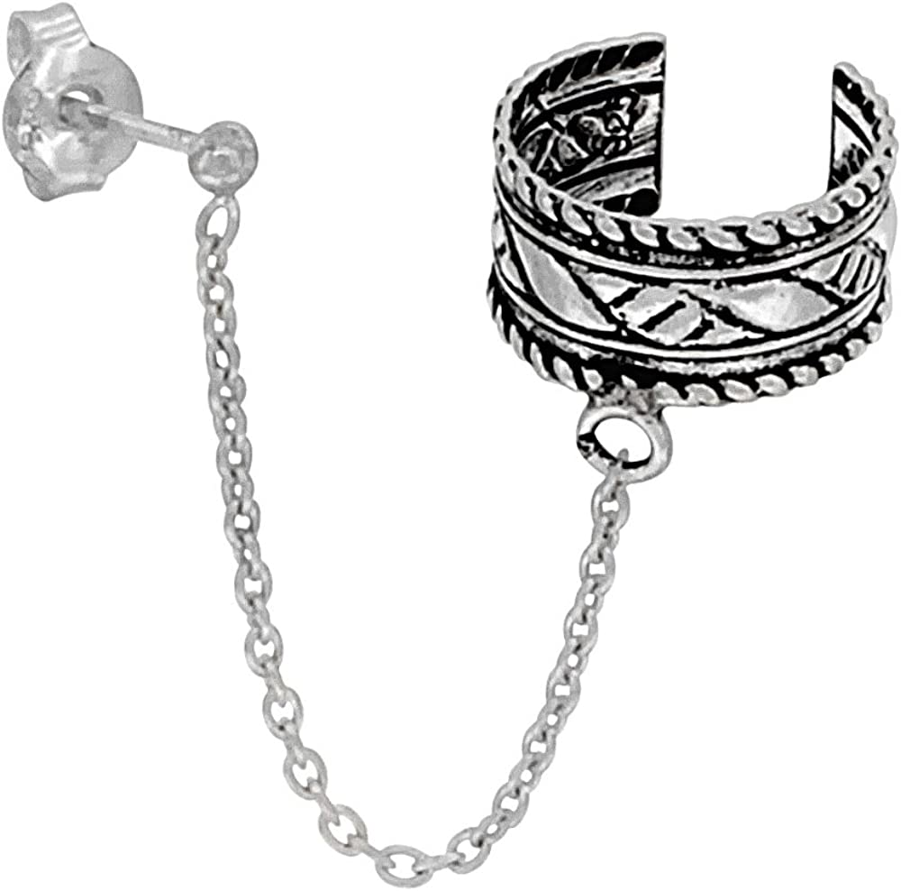 one piece Sterling Silver Ear Cuff Earring with chain /& Ball Stud