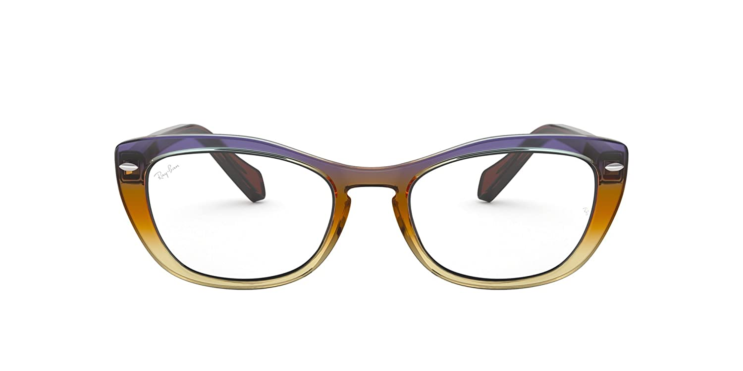 2a8002ac71d39 Amazon.com  Ray-Ban Women s 0rx5366 No Polarization Cateye Prescription  Eyewear Frame Tri Gradient Brown Violet 52 mm  Clothing