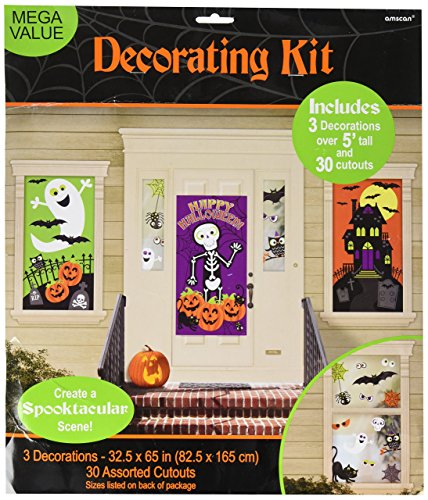 Amscan Family Friendly Halloween Trick or Treat Mega Value Party Scene Setter Decorating Kit, Pack of 33 Decoration -