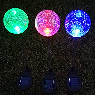 Solar Lights Outdoor,Sogrand Garden Path Light Crackle Glass Globe 3pcs-Pack 3Color LED Landscape Lighting for Pathway Walkway Patio Yard