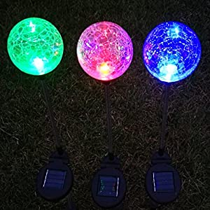 Sogrand Solar Lights Outdoor Garden Decorations Decorative Stake Light Landscape Home Decor Crackle Glass Globe Stakes Deal of The Day Prime Today 3 Color LED Lighting for OUtside Yard Patio 3Pack