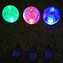 Solar Garden Lights Outdoor Decorations Decorative Stake Light Landscape Home Decor Crackle Glass Globe Stakes Deal of The Day Prime Today Sogrand 3 Color LED Lighting for OUtside Yard Patio 3Pack