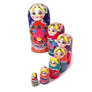 JohnJohnsen 7pcs Russian Doll Russian Girl Bambole Arte Lavoro Artigianale Bella a Mano in Legno Che desiderano Dolls Decorazione Domestica (Yellow & Orange)