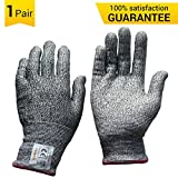 MOPOLIS Cut Resistant Gloves - Level 5 Cut Protection, Food Grade, Safety Gloves for Kitchen and Carpentry Wood Carving, LightWeight and Durable, EN388, All Sizes, 1 Pair, Grey (Extra Large)