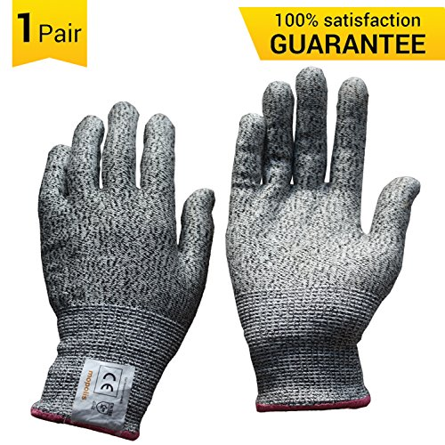 MOPOLIS Cut Resistant Gloves (Small) - High Performance Level 5 Cut Protection Food Grade LightWeight and Durable, All Sizes, 1 Pair, Grey - Fish Butchering Knife