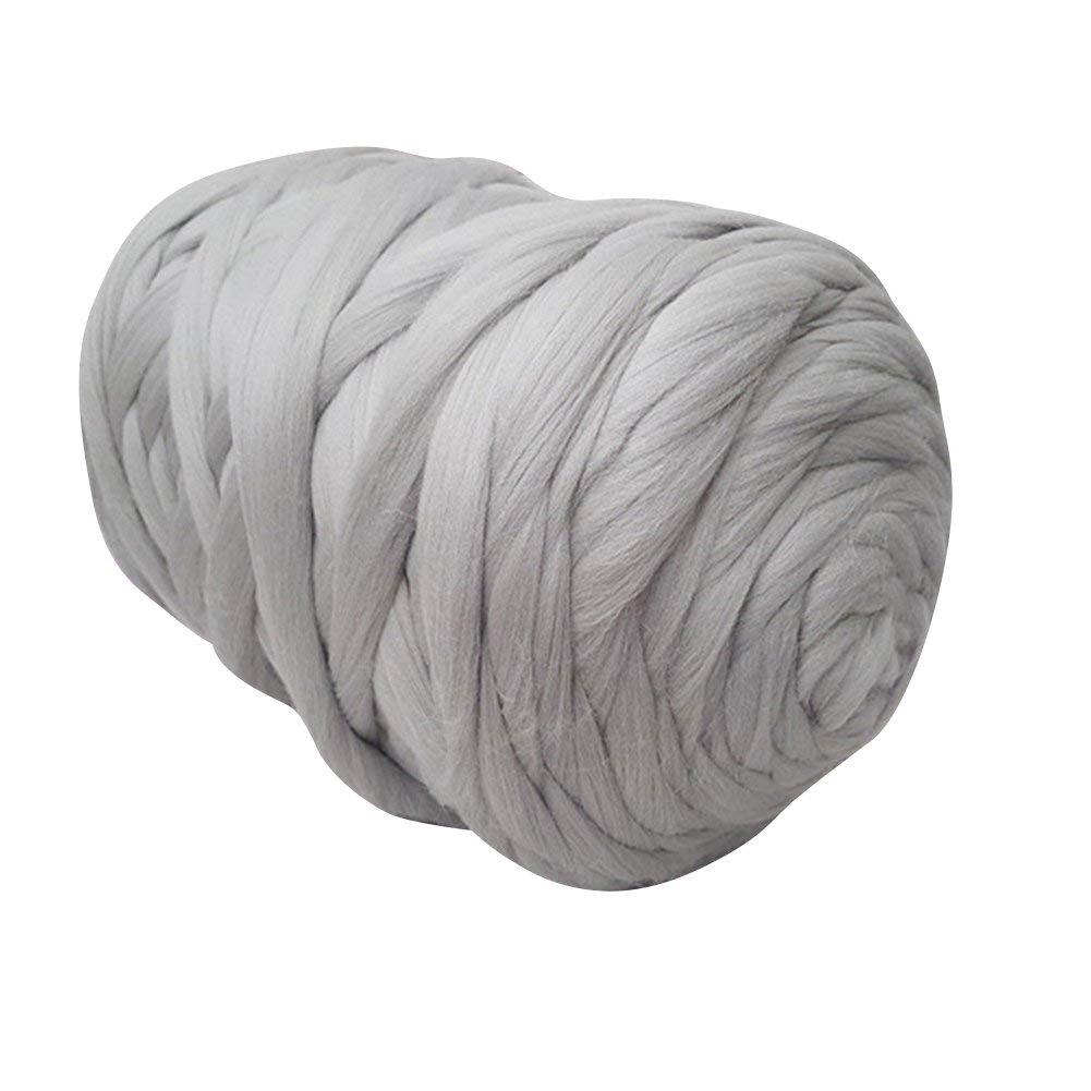Chunky Yarn Super Bulky Giant Wool Yarn Roving For Arm Knitting Extreme Knitting (4.4lbs(2kg), Light Grey)