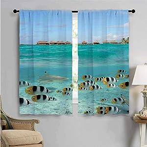 jecycleus Ocean Heat Insulation Curtain Blacktip Reef Shark Chasing Butterfly Fish Lagoon of Bora Bora Tahiti for Living Room or Bedroom W84 x L96 Inch Aqua Yellow and Black
