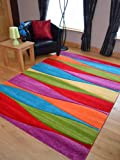 Candy Multicoloured Wave Design Rug. Available in 7 Sizes (120cm x 170cm)