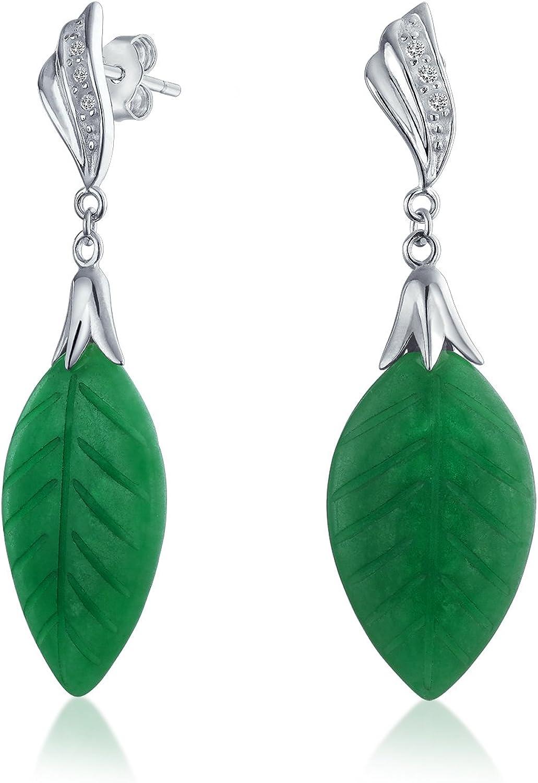 De Inspiración Asiática, Teñido De Verde Hoja Tallada Jade Jade Caída Colgante Pendiente De Plata Esterlina 925 Mujer
