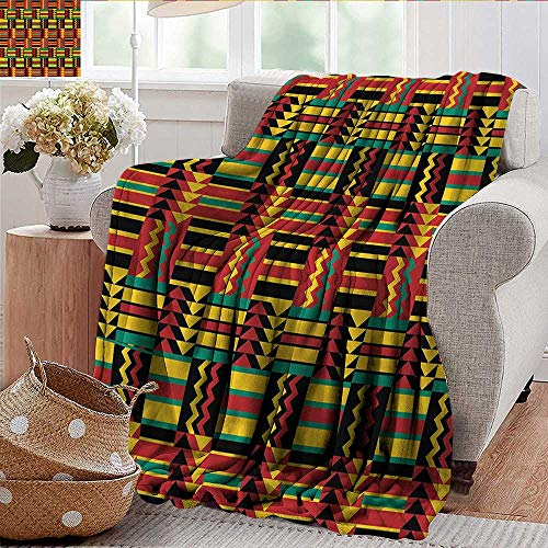 Xaviera Doherty Flannel Fleece Blanket Kente Pattern,Ethnic Zimbabwe Throw Lightweight Cozy Plush Microfiber Solid Blanket 35