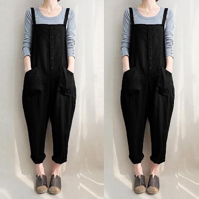 5601618bb020 Amazon.com  SCSAlgin blouse Women Sleeveless Button Jumpsuits Overalls Harem  Long Pants Trousers Playsuits  Clothing