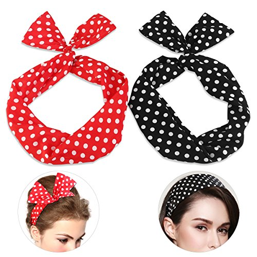 PIXNOR Wire Headband Retro Bowknot Polka Dot Wire Hair Holders for Women and Girls, Pack of 2 -