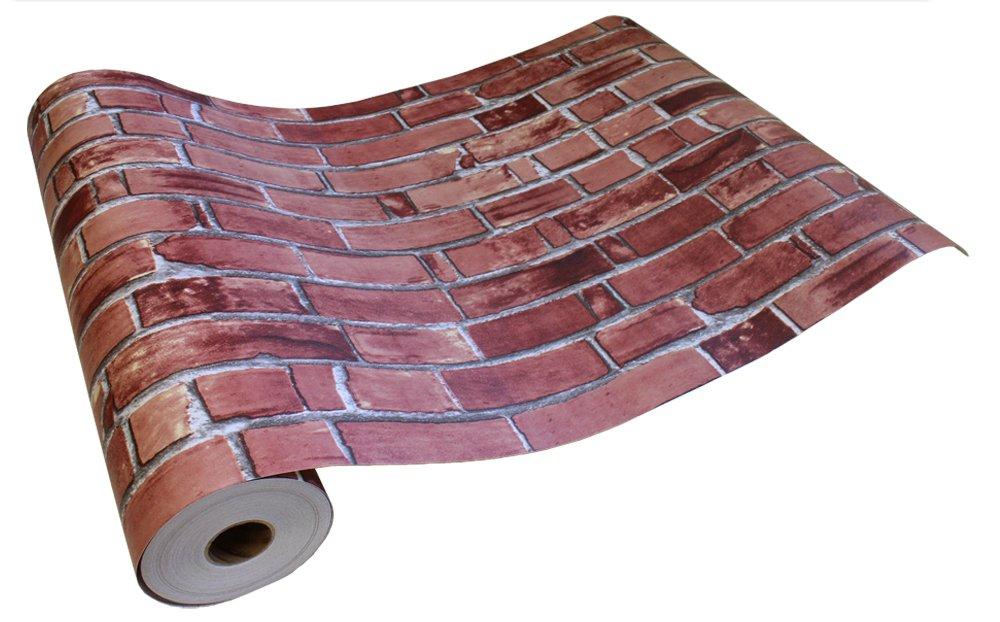 はがせるシール壁紙 のりつき壁紙 賃貸OK 50cm幅 Magicfix レンガ ブリック 防水加工 (15mパック+道具付きセット, 18●DBS-01 ビンテージブリック) B073DYZL3D 15mパック+道具付きセット|DBS-01 ビンテージブリック