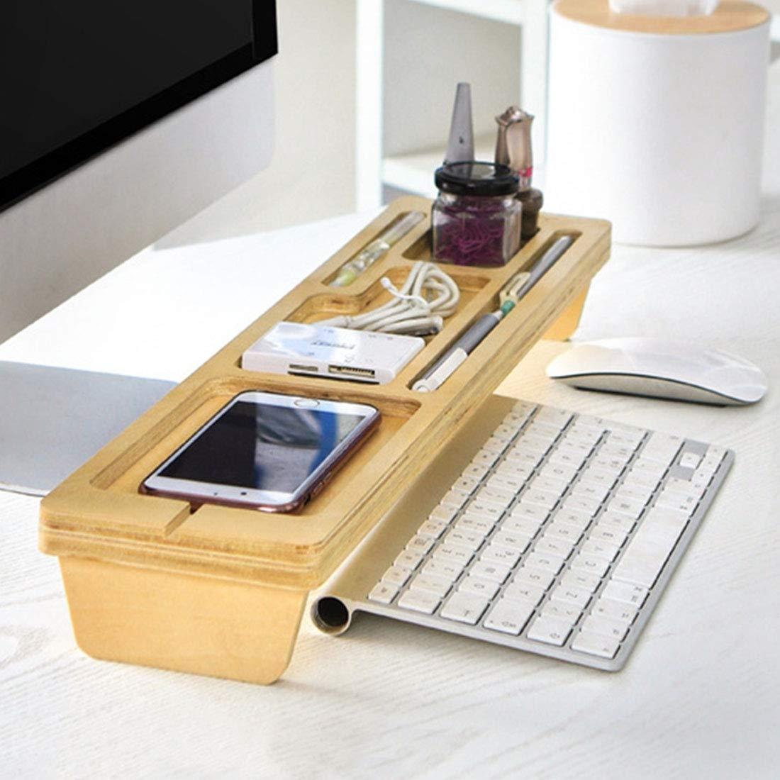 Lanbinxiang@ Multifunktionale Aufbewahrungsbox für Computer-Tastatur aus Birke, Größe 52 x 12 x 4 cm, Material  Holz