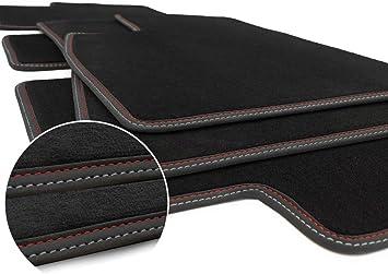 Kh Teile Fußmatten Model 3 Premium Sport Tuning Zubehör Autoteppich Velours 3 Teilig Doppelnaht Rot Silber Auto