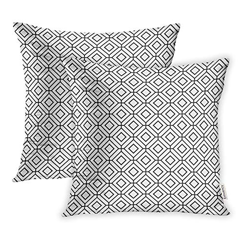 Emvency 16x16 Inch Decorative Set of 2 Throw Pillow Cover Bamboo Geometric Abstract Pattern Octagon Grid Cross Square Home Cushion Sofa Two Sides Pillow Case