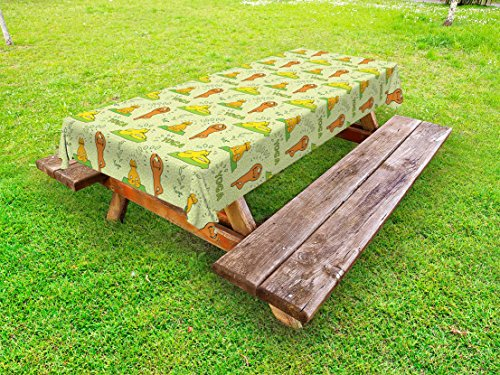 Ambesonne Cat Outdoor Tablecloth, Cute Cartoon Cats Practicing Yoga on Green Backdrop Meditation Healthy Living, Decorative Washable Picnic Table Cloth, 58 X 104 Inches, Green Orange Yellow by Ambesonne