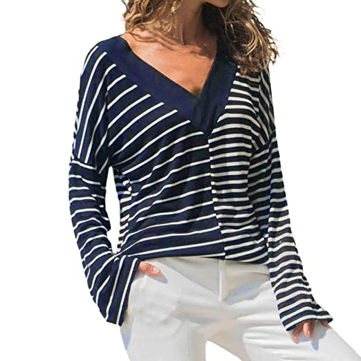 f6e546ff479 Staron Clearance Women s Striped Long Sleeve Shirts Baggy V Neck Tees Top T- Shirt