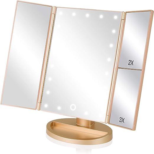 EASEHOLD Espejo de Mesa, Regalos Espejo de Maquillaje Tríptico con Aumentos 1x, 2X, 3X, Cosmético Espejo Plegable y Adjustable 180° con 21 LED con Mostrador, USB o Batería, para Mujer (Oro): Amazon.es: