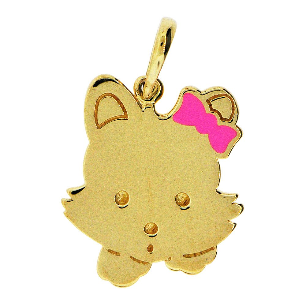 Adorable Kitty Cat Pendant Charm Pink Enamel Resin Accents 14k Yellow Gold