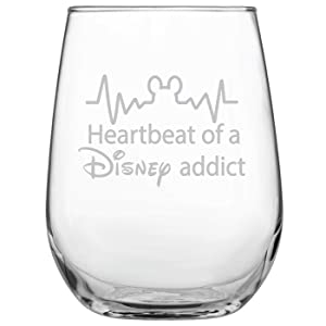 Funny Disney-Inspired Stemless Wine Glass | Mickey Mouse Fan | Birthday | For Him | For Her | Housewarming | Wedding | Anniversary Present | by Laser Etchpressions | Heartbeat of a Disney Addict