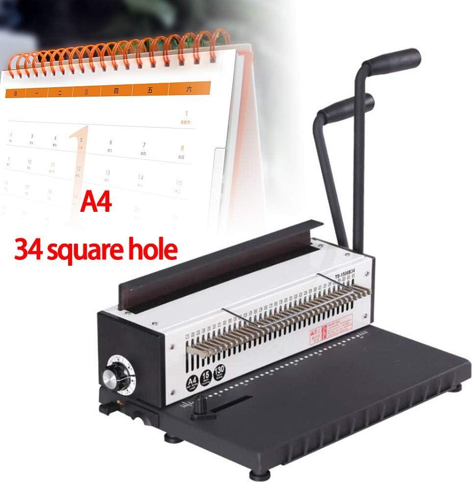 DiLiBee Kalenderbindeger/ät Bindemaschine Bindeger/ät 34 L/öcher Quadratisches Loch