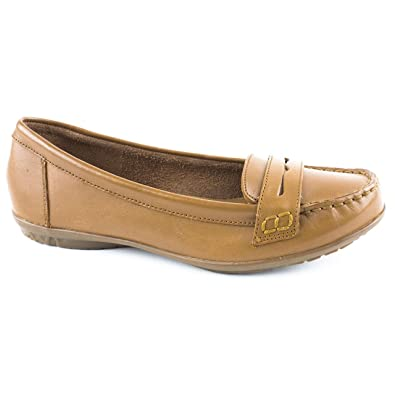 254d6276f1f Ladies Hush Puppies Ceil Penny Brown - Beige Loafers Size 8  Amazon ...