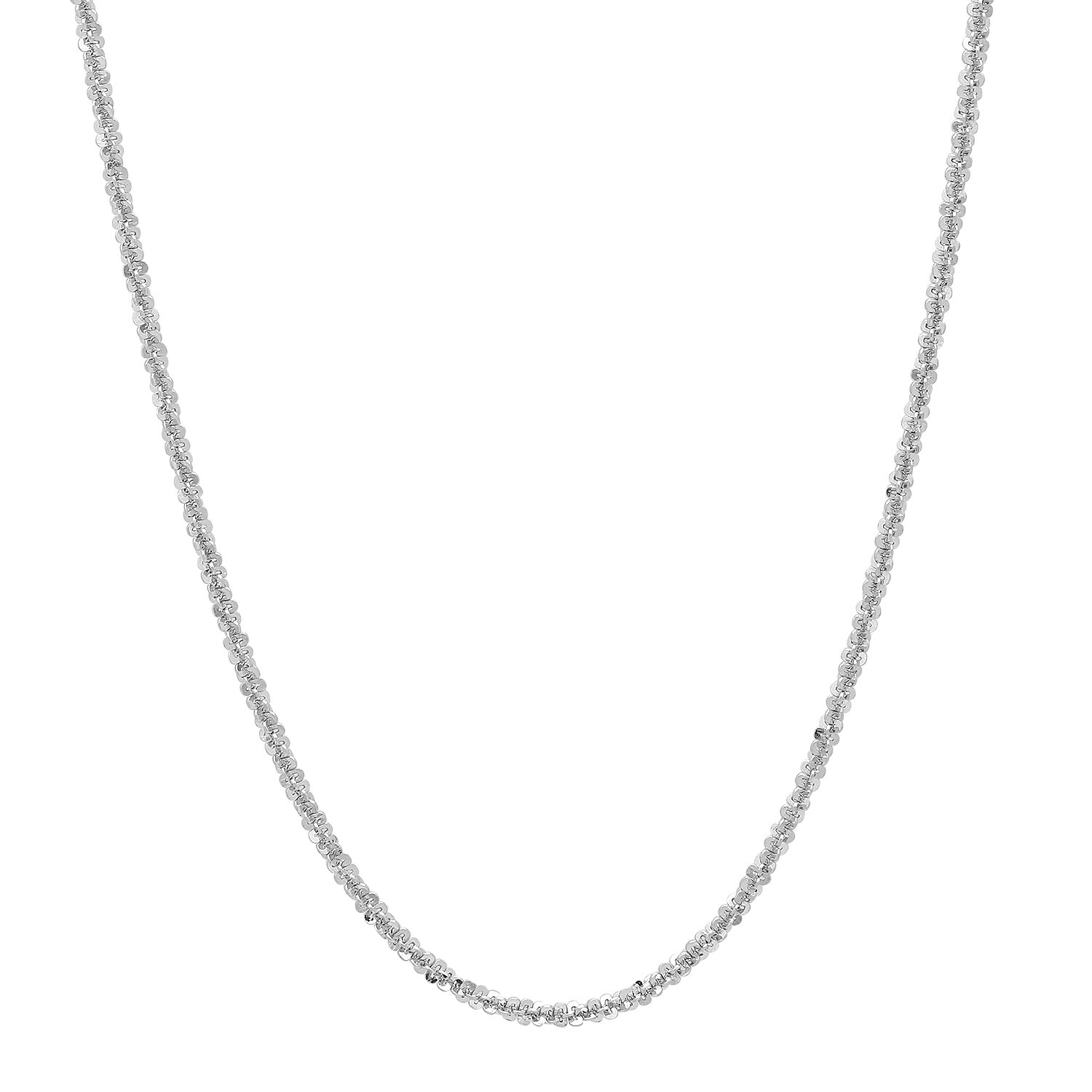 Jewelry Polishing Cloth 1.4mm Rhodium Plated .925 Sterling Silver Flattened Link Chain Necklace