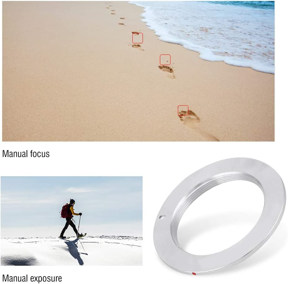 Lens Adapter Ring M42-AI Manual Control Copper Camera Adapter Ring with 2M Focus for M42 Mount to for Nikon Cameras