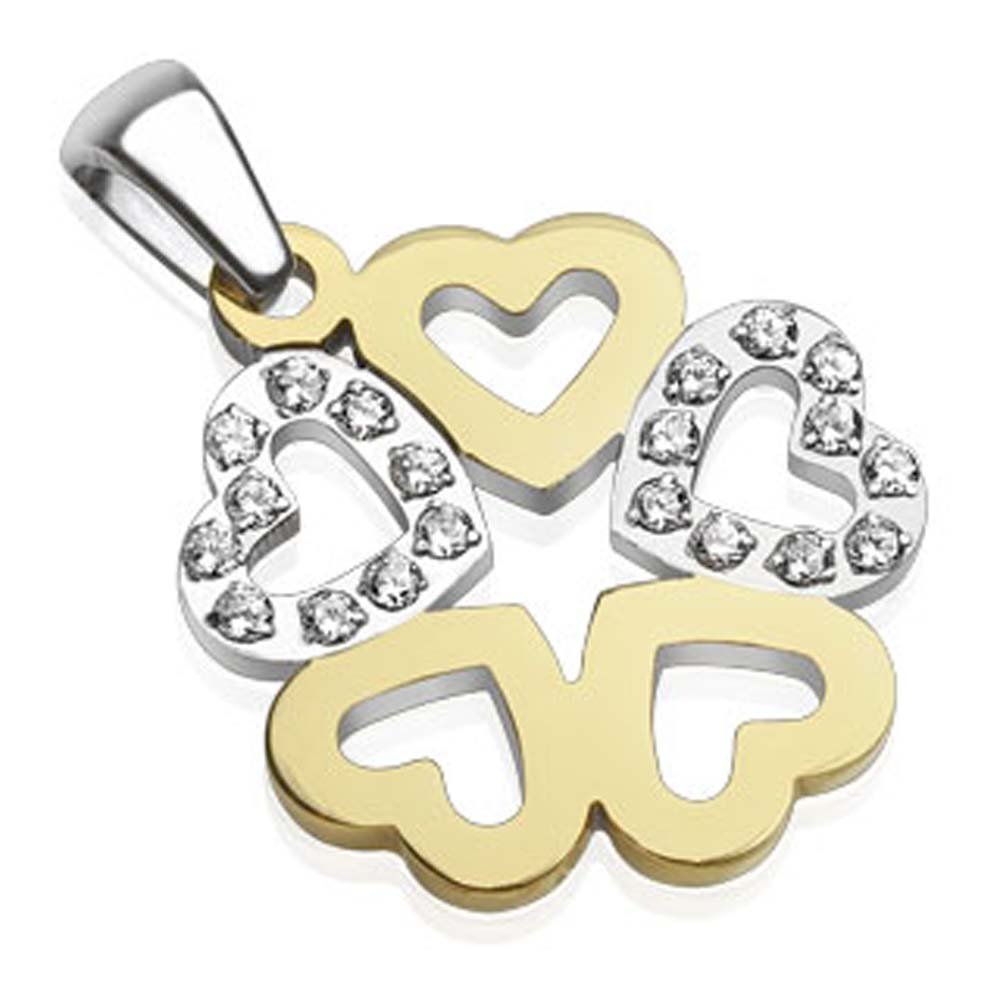 Jinique JSP-8091 Stainless Steel Hearts with Paved Gems Two-Tone Pendant