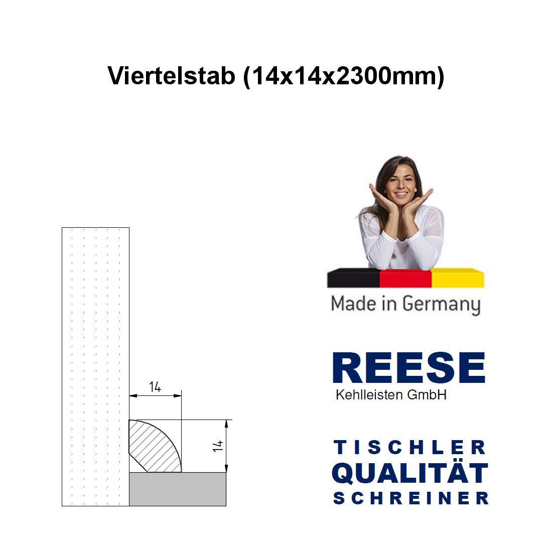 Massiv 14mm Viertelstab Abdeckleiste Abschlussleiste Sockelleiste Fichte ROH