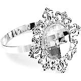 ROSENICE 12pcs Crystal Napkin Rings (Silver)