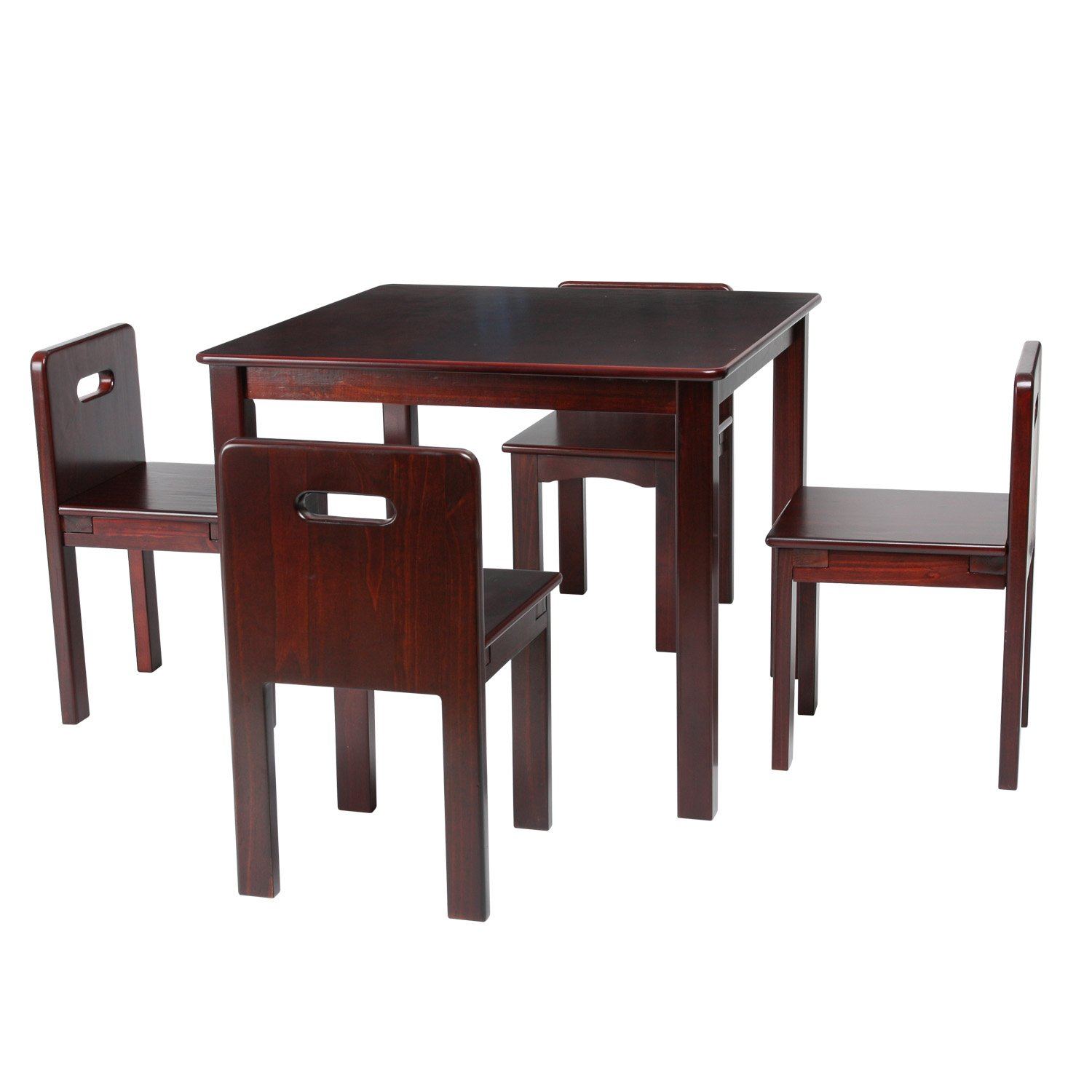 Max & Lily Espresso Wood Kid and Toddler Square Table Set with 4 Espresso Chairs