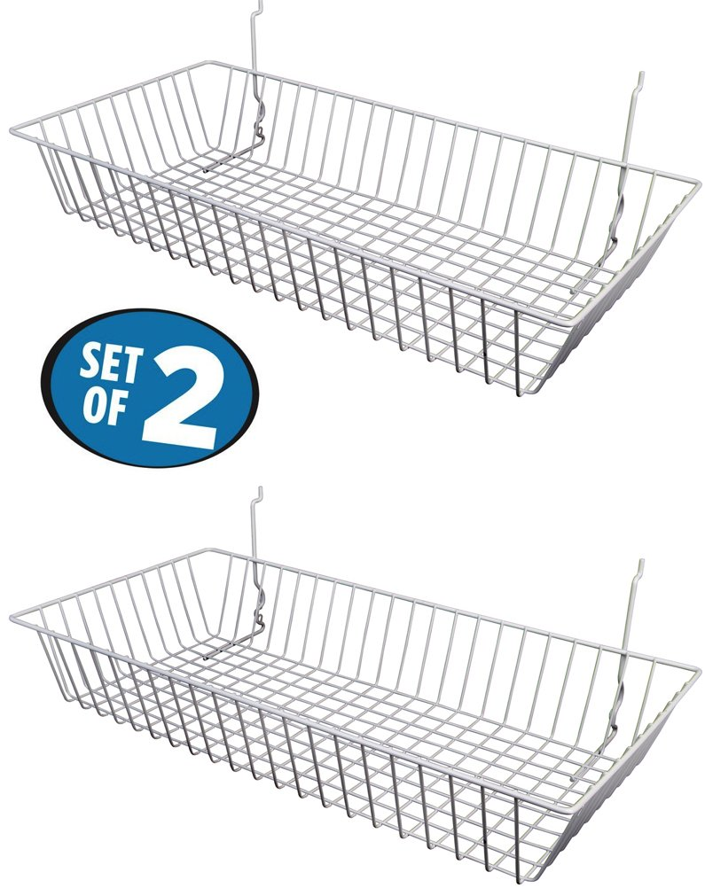 White Wire Baskets for Slatwall, Gridwall or Pegboard (Set of 2), Merchandiser Baskets,for Retailers or Home Use, White Vinyl Coated Wire Baskets, 24'' L x 12'' D x 4'' H, Shallow Baskets