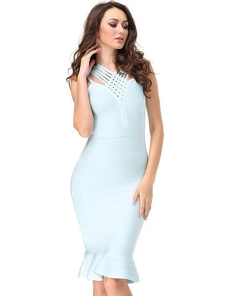 best service f69e4 45cd3 Adyce club vestito elegante vestito lungo fino al ginocchio ...