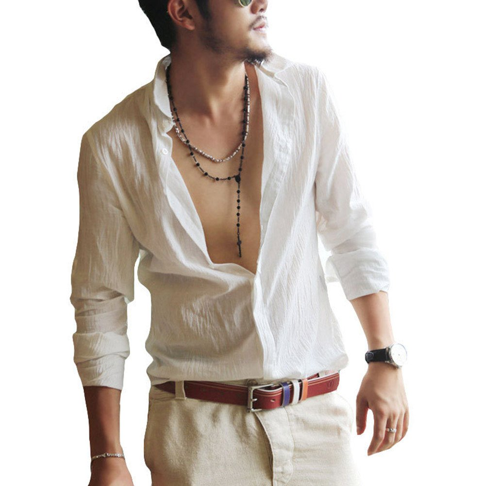 HSDZ Men's Solid Long Sleeve Loose Fit Beach Button Down Dress Shirt Tops White S