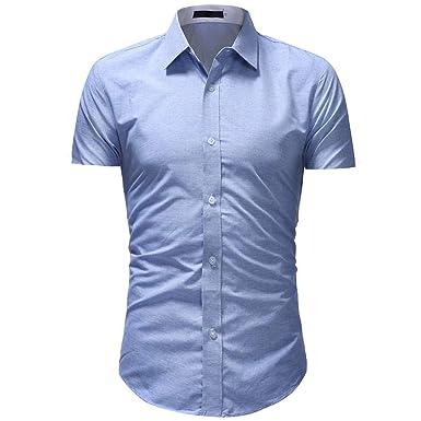 c28ec543df2 Men Classic Shirts Solid Formal Regular-Fit Slim Fit Top Blue
