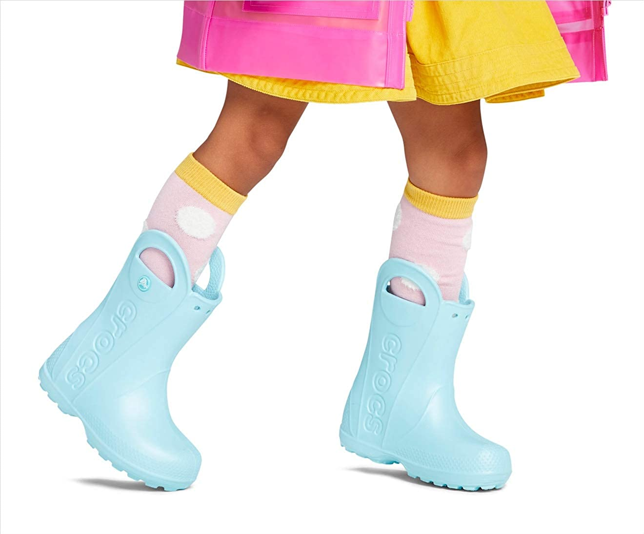 Girls Candy Pink Crocs Kids Handle It Rain Boots 2 M US Little Kids Boys Easy On for Toddlers Lightweight and Waterproof