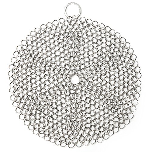 (LauKingdom Cast Iron Cleaner, Anti-Rust Stainless Steel Chainmail Scrubber with Corner Ring, Round)