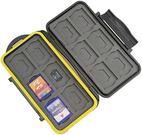 DUEBSN dubens Carcasa Tarjetas de Memoria Caja Protectora Impermeable antigolpes Bolsa, sdkarten Funda, 24 Slots para 12 Unidades de Tarjetas SDHC/SDXC y 12 Tarjetas Micro SD: Amazon.es: Informática