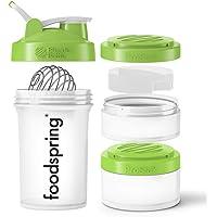 foodspring Premium Shaker, 650 ml, Blender Bottle ProStack, vrij van BPA, 2 houders & 1 pillendoos voor onderweg